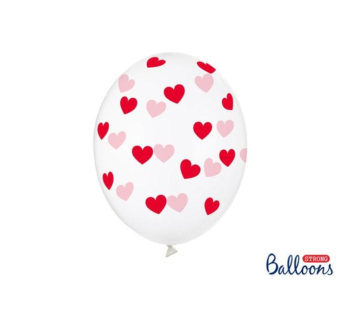 Ballonger Röda Hjärtan, 6-pack