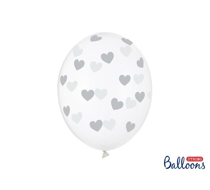 Ballonger Silver hjärtan, 6-pack