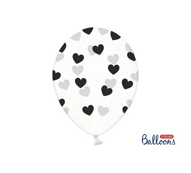 Ballonger Svarta hjärtan, 6-pack