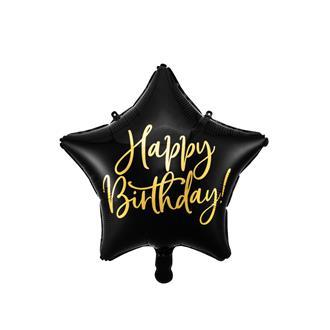 Folieballong Svart Stjärna Födelsedag, 40 cm