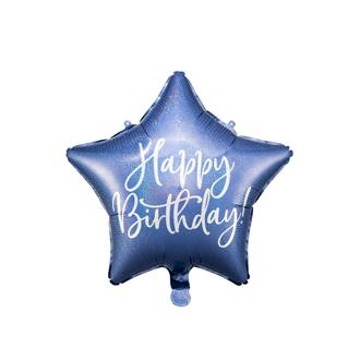 Folieballong Stjärna  Födelsedag Blå, 40 cm