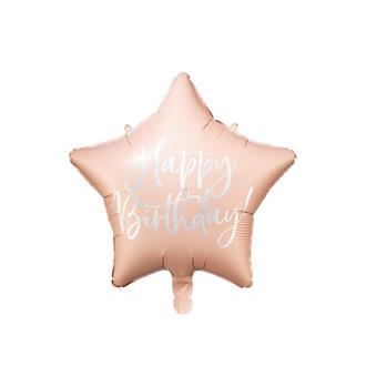 Folieballong Rosa Stjärna Födelsedag, 40 cm