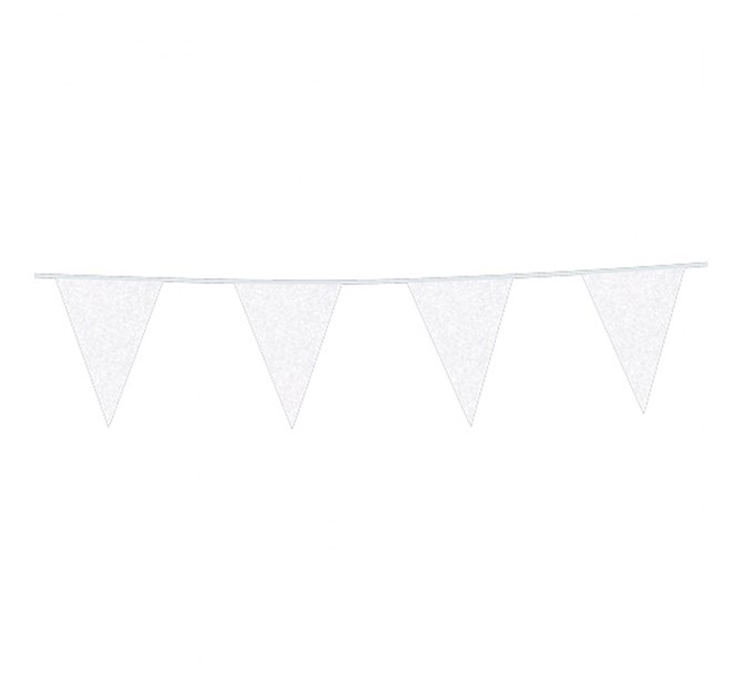 Vimpel vit glitter, 6 m