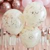 Dubbla konfettiballonger Crème med Rosé konfetti, 3-pack