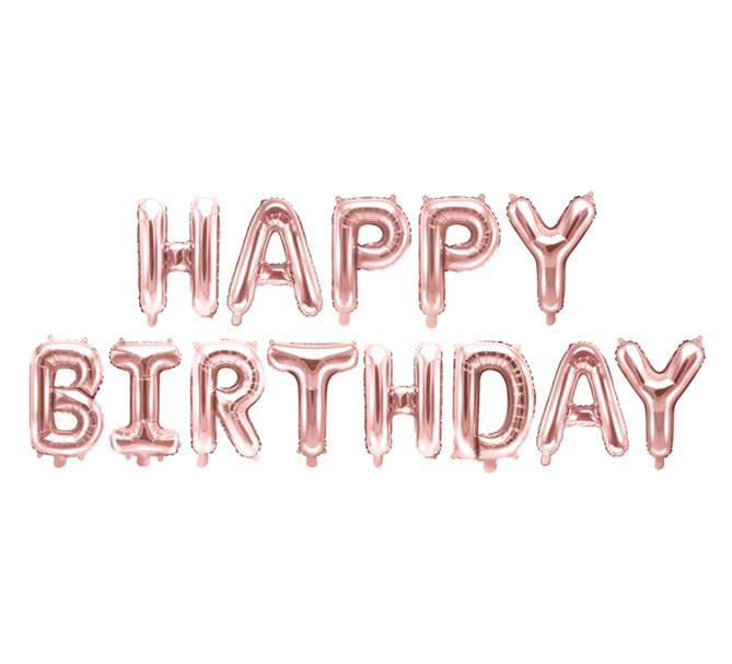 Ballonggirlang Happy Birthday Roséguld