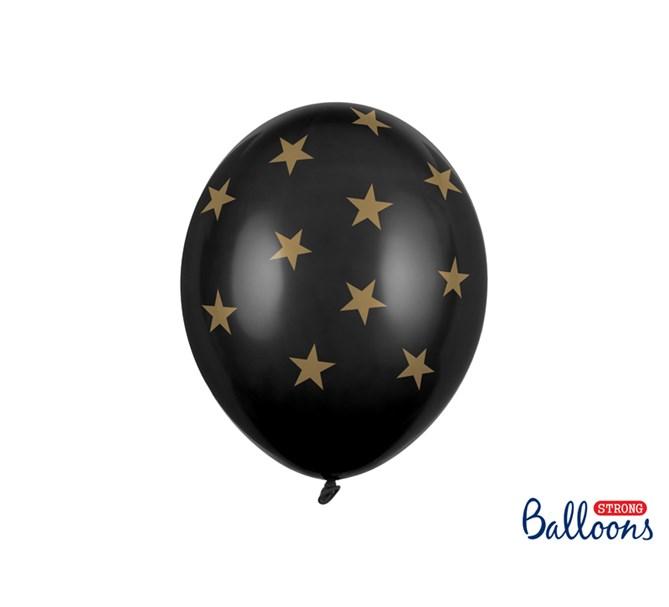 Ballong svarta med stjärnor, 6-pack