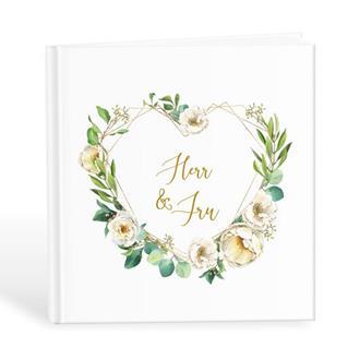 Gästbok ´Herr & Fru´ med hjärta av blommor och blad