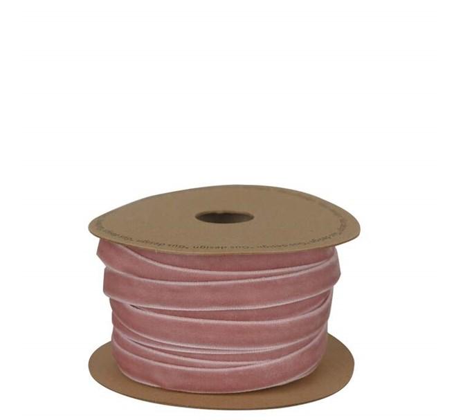Band i sammet rosa 10 mm, metervara