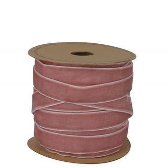 Band i sammet rosa 15 mm, metervara