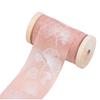 Chiffongband Rosa med vita blad , 4 cm x 5 m
