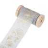 Chiffongband Grå med guld blad, 4 cm x 5 m