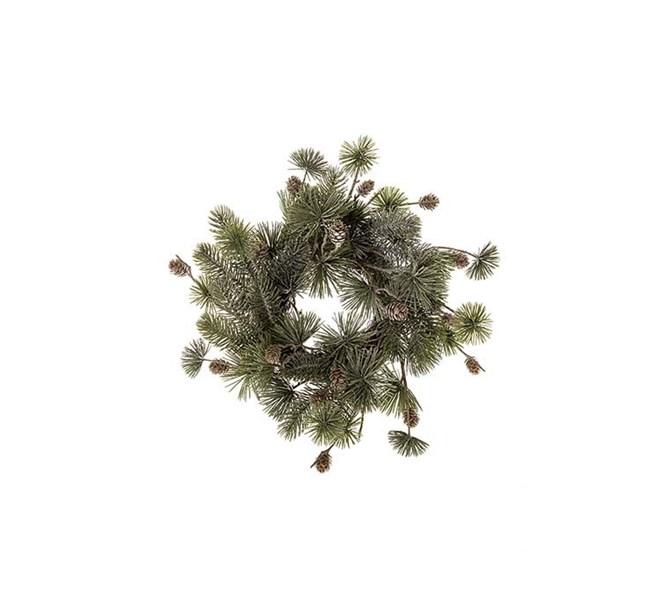 Grankrans med kottar och frost, 40 cm.