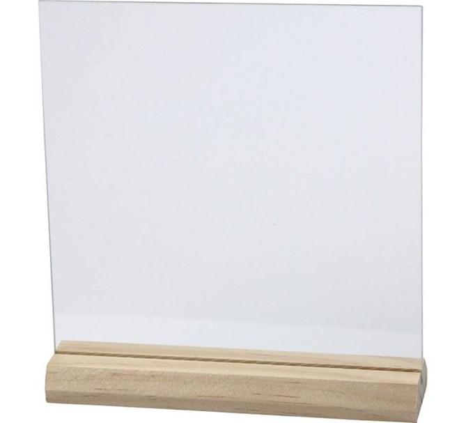 Glasplatta med träfot till Bordsnummer & Instagramskylt