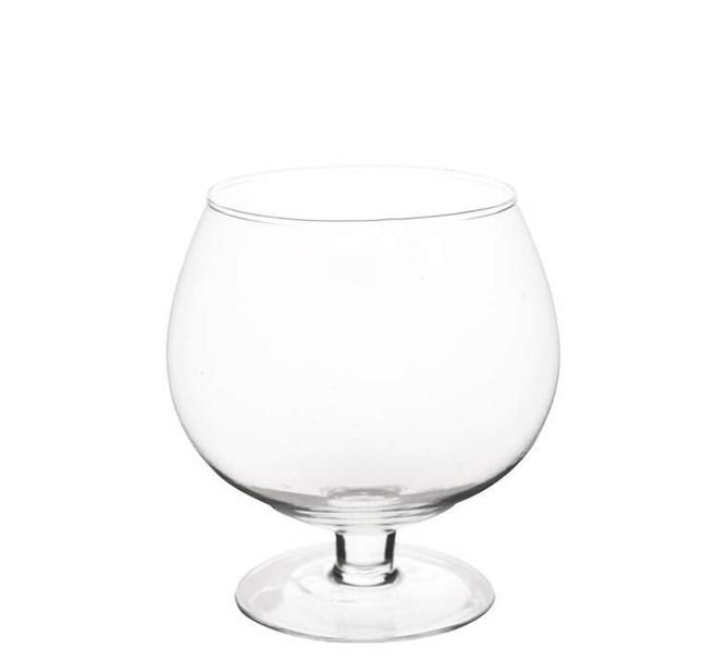 Glaskupa på fot, 14 cm.