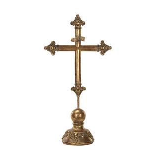 Krucifix Mörk Guld Metall, 42 cm.
