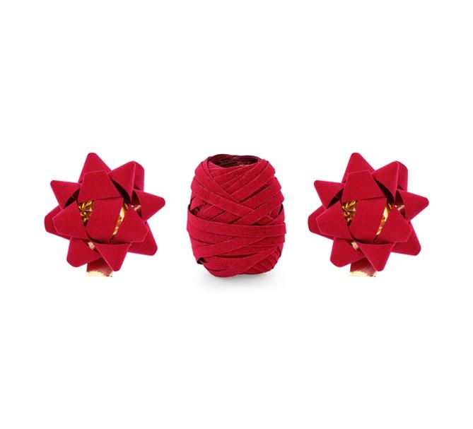 Presentinslagningsset band och 2 rosetter, röd