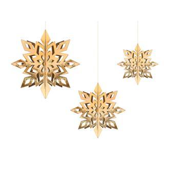 Snöflingor dekorativa guld 6-pack, 15-25 cm