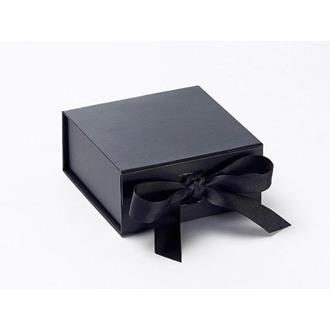Presentbox med band svart 11 x 11,5 x 5 cm