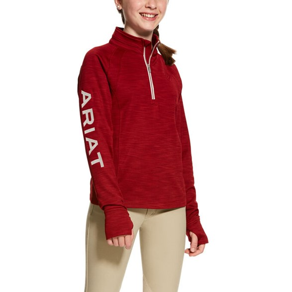 Tröja Tek Team Girls 1/2 zip  Laylow red