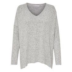 Tröja Kleo V knit Lt grey melange