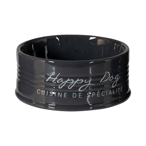 Skål Happy Dog keramik 10,5cm 300ml antthracite