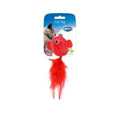 Kattleksak fåglar med fjäder röd/lila