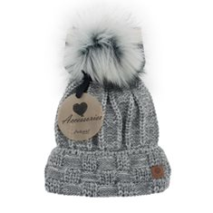 Mössa Winter lady flecked Lt grey