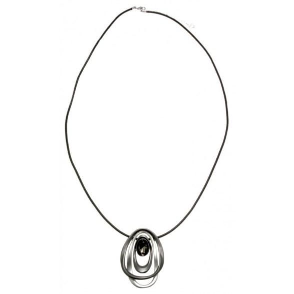 Halsband Långt 3 ringar m, strassten svart