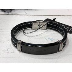 Armband Herr metall/silicone svart