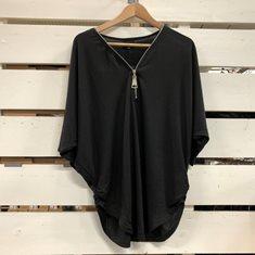 Top stickad m zip  Black