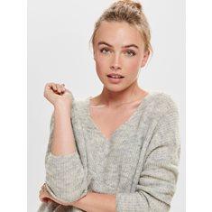 Tröja Hanna V knit  Lt grey melange