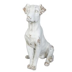 Hund sittande H56 B35 vit