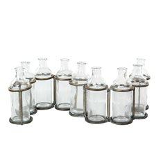 Flaskor m ställning antik mäss 84x8