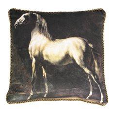 Kudde Velvet Horse white