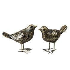 Fågel/stående brun/guld poly 13,5cm