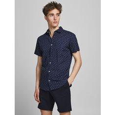 Skjorta Blasummer  Kortärmad skjorta - Andningsbar bomullsblandning - Slim fit - Modellen bär storlek L och är 187 cm lång - JACK & JONES 74% Bomull, 26% Linne Navy Blazer