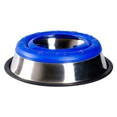 Vattenskål rostfri antiskvalp blå