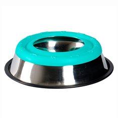 Vattenskål rostfri antiskvalp grön
