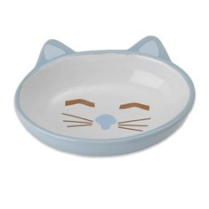 Skål Sleepy Kitty oval blue