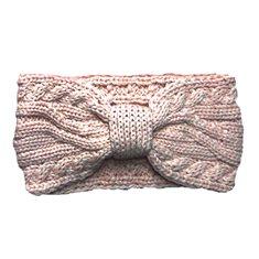 Pannband kabelstickad rosa