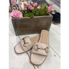 Sandal metallspänne Beige