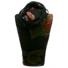 Scarf svart med röda/gröna blommor