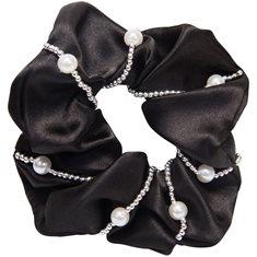 Hårsnodd Crystal pearl black