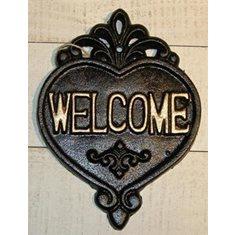 Skylt hjärta welcome