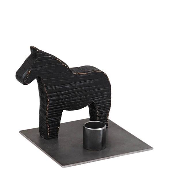 Ljusstake Horse Trä/smide svart