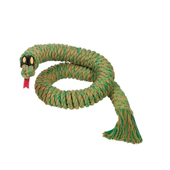 Hundleksak bomull snake 115cm grön