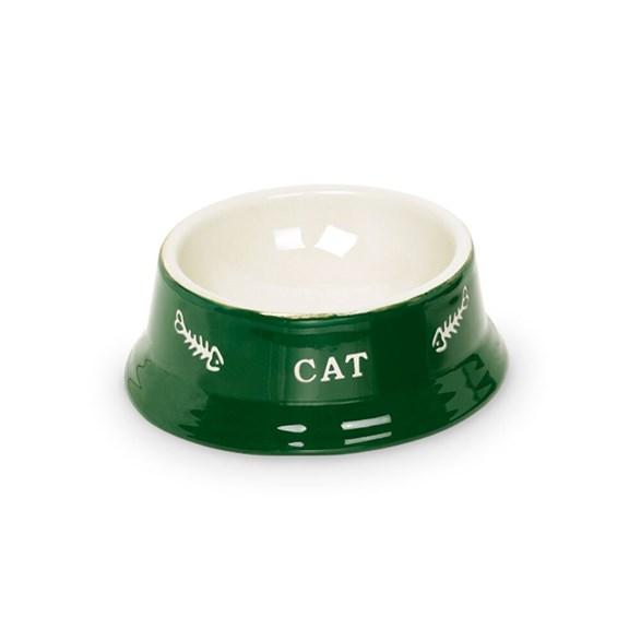 Kattmatskål 14x4,8 cm grön/beige