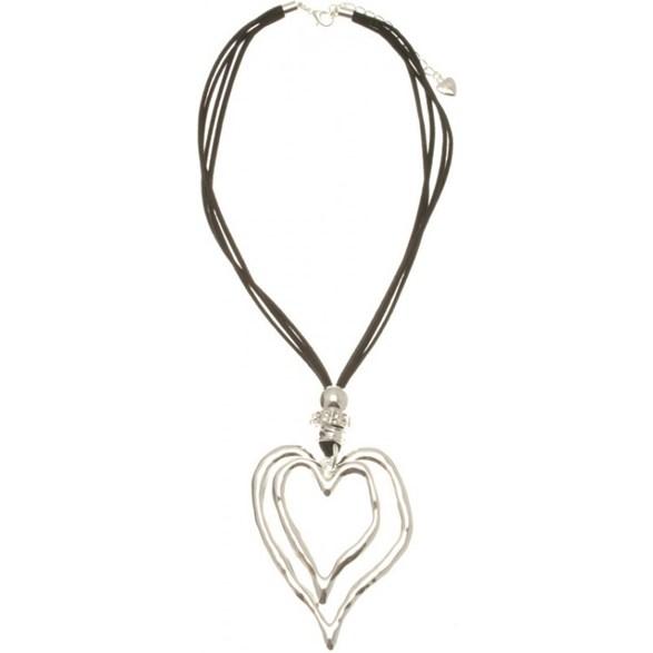 Halsband sv kort 2 silverhjärtan