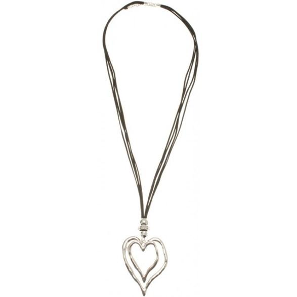 Halsband sv lång 2 silverhjärtan