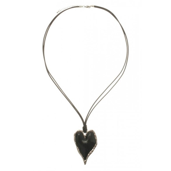 Halsband sv kort svart silverhjärta